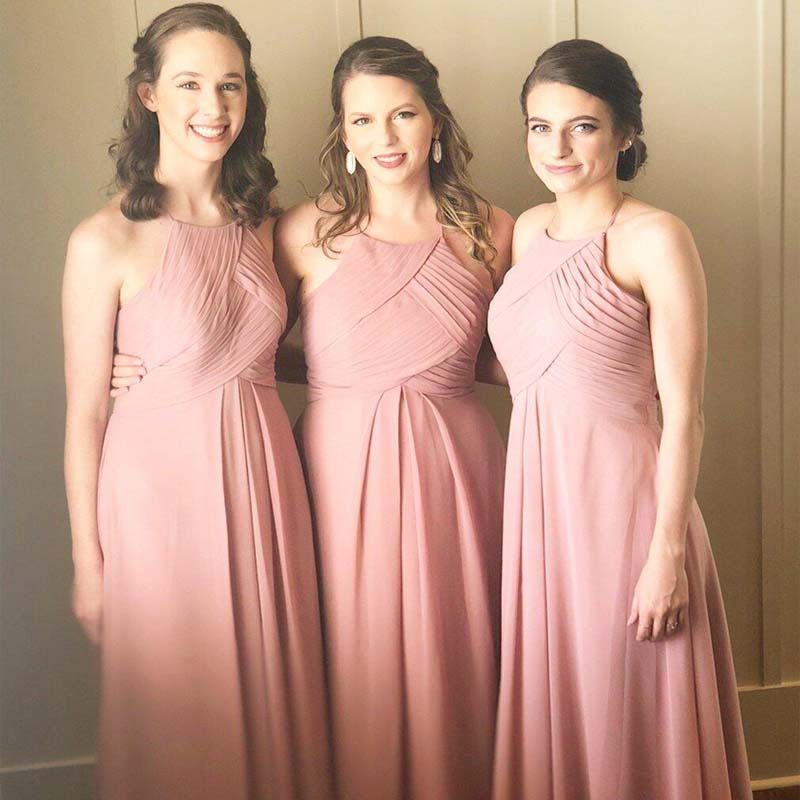 Halter Dusty Pink Chiffon Cheap Bridesmaid Dresses Online, Long Pleated Column Bridesmaid Dresses, Simple Bridesmaid Dresses, VB01050