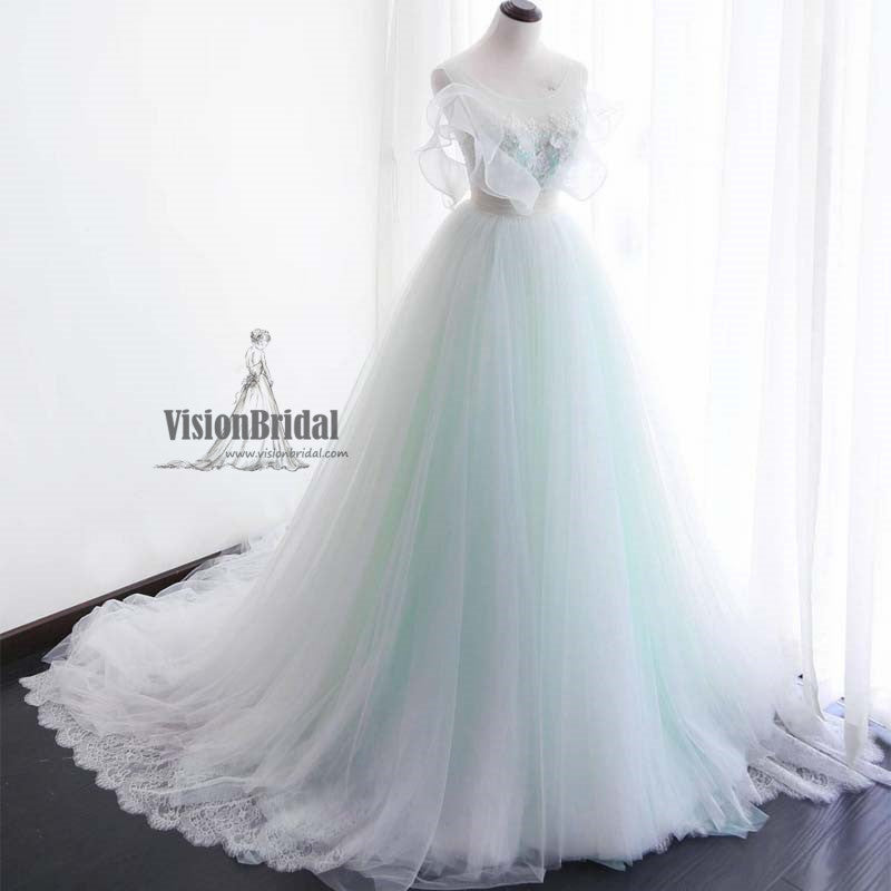 Elegant Round Neck Lace Appliques With Pearls Tulle Wedding Dress ...