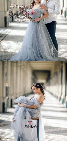 Charming Grey Off Shoulder Pleated Long A-Line Tulle Prom Dresses, Prom Dresses, VB01489