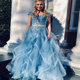 Charming Blue Cap Sleeve Two Pieces Long A-Line Asymmetrical Organza Prom Dresses With Lace, Prom Dresses, VB01467