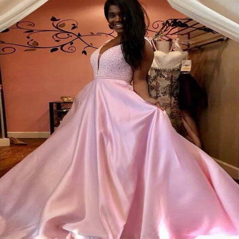 Pink Top Beaded V-Back Long A-Line Satin Prom Dresses With Pockets, Prom Dresses, VB01582
