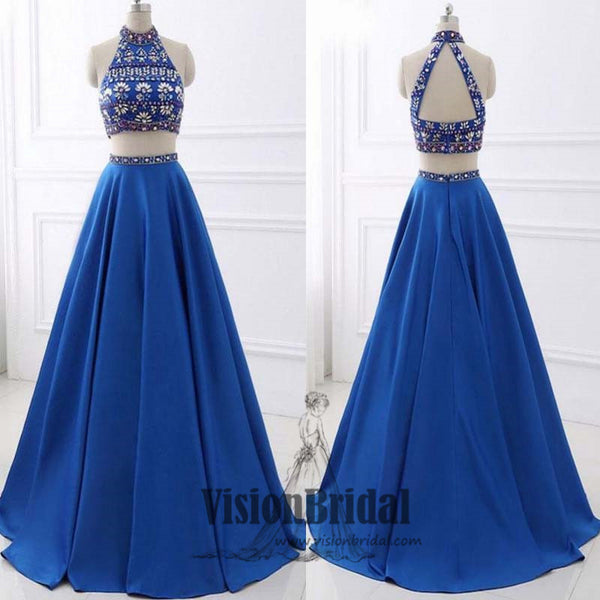 Royal Blue Halter Two Pieces Rhinestone A-Line Floor Length Prom Dress, Sparkly Prom Dress, VB0374 - Visionbridal