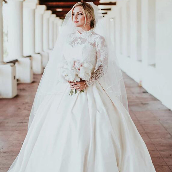Unique High Neck Long Sleeve With Lace Ball Gown Wedding Dresses, Bridal Gown, VB02439