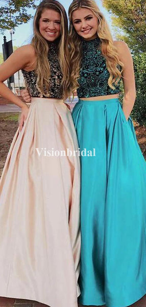 Charming Two Pieces Top Rhinestones A-Line Prom Dresses With Pockets, VB03493