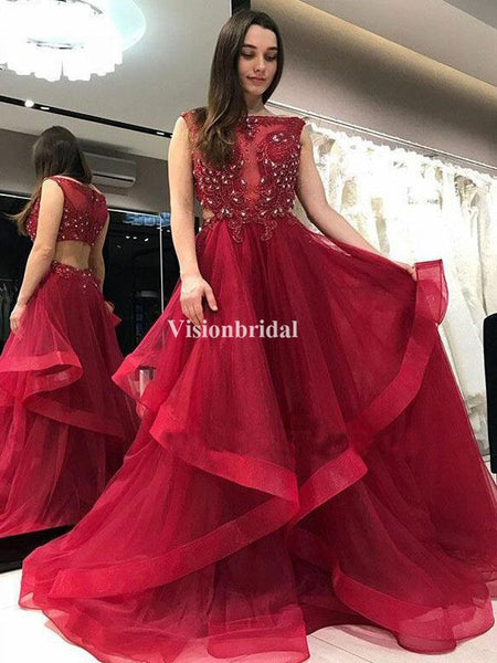 Alluring Red With Appliques Beading Asymmetrical Prom Dresses, VB03392