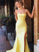 Charming Yellow Strapless Mermaid Side Slit Prom Dresses, VB03565