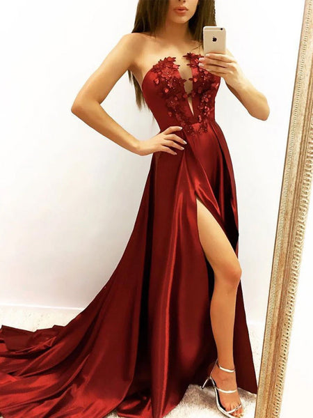 Charming Burgundy Strapless A Line Side Slit Prom Dresses With Appliques, VB03566
