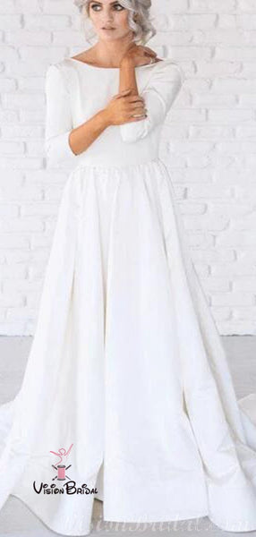 Elegant Bateau Neckline Long Sleeve A-Line Wedding Dresses, 2019 Wedding Dresses, VB02441