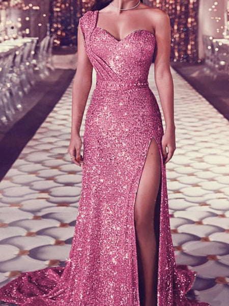 Shinny Dusty Pink One Shoulder Mermaid Side Slit Prom Dresses, VB03567
