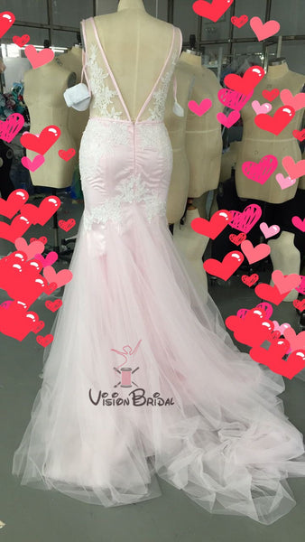 Pink V-Neck Lace Appliques V-Back Mermaid Prom Dress With Trailing, Beautiful Prom Dress, VB0485