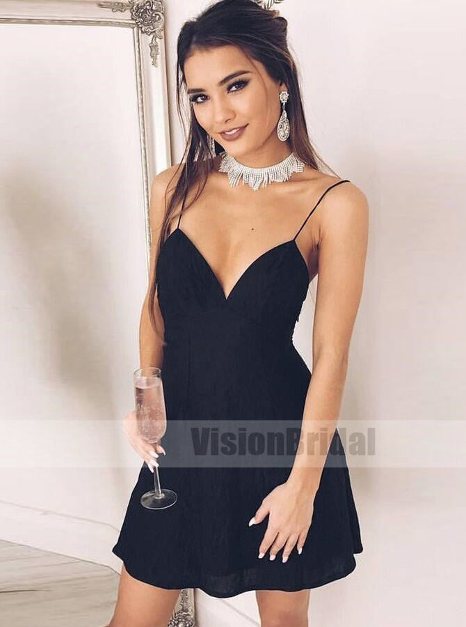 2018 Newest Charming Spaghetti Straps Open Back A-Line Short Homecoming Dress, Sexy Homecoming Prom  Dresses, VB0748