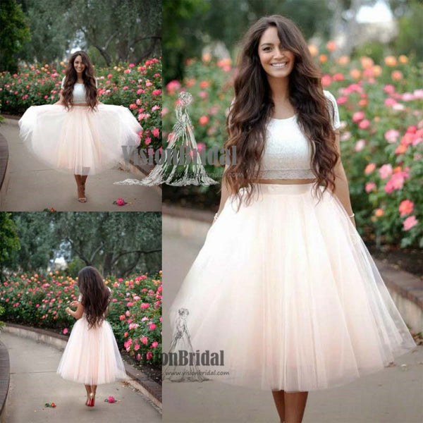 Beautiful Lace Top Short Sleeves Two Pieces Tulle Homecoming Dress, Cocktail Dresses, VB0626