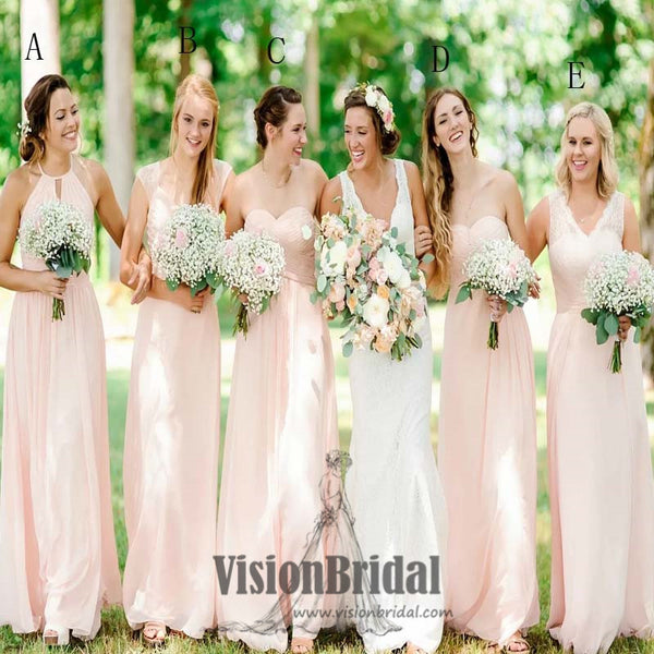 950941d75809 2018 Simple Mismatched Pink Pleating A-Line Long Bridesmaid Dress, Bridesmaid  Dresses, VB0402