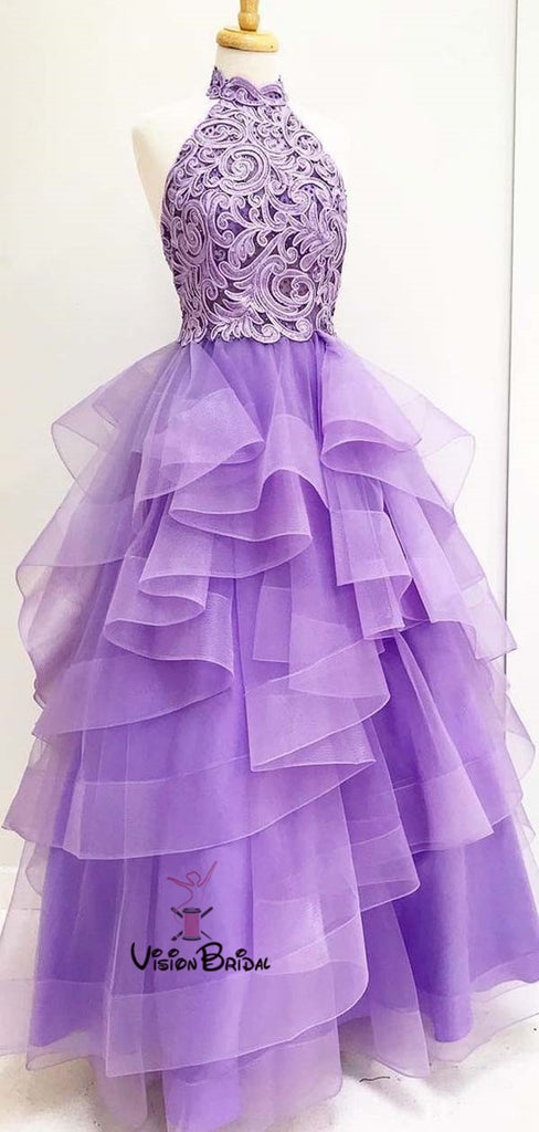 Charming Lavender High Neck Lace Top Long Asymmetrical Organza Prom Dresses, Newest Prom Dresses, VB01907