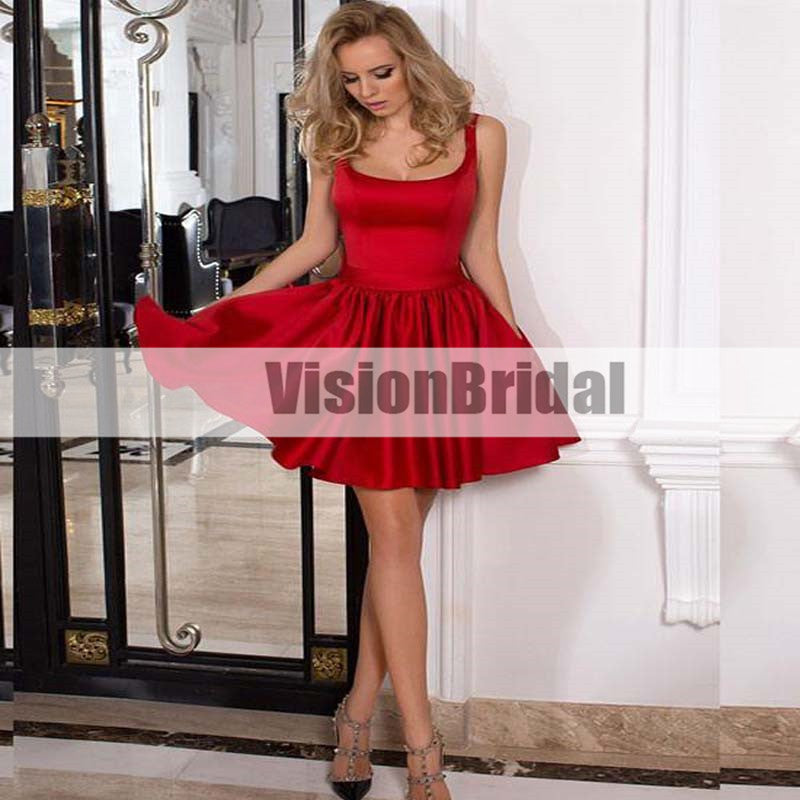 Cute Red Satin Homecoming Dresses, Square Neckline A-Line Mini Homecoming Dresses, Short Homecoming Dresses with Pockets, VB0849