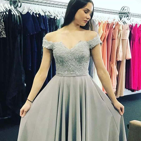 77c19c34e12f09 Simple Off Shoulder Lace Top Long A-Line Prom Dresses