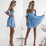 Unique Sky Blue Spaghetti Straps Lace Short Homecoming Dress, Beautiful Homecoming Prom Gown, VB0674
