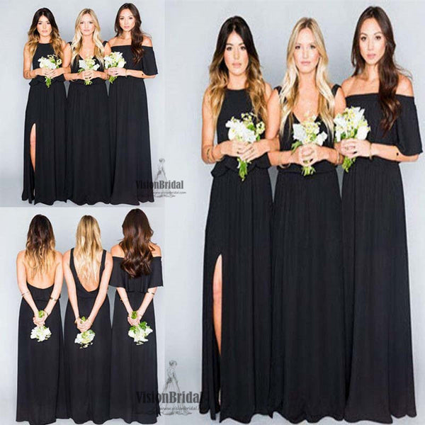 Black Junior Mismatched Charming Side Slit A-Line Long Chiffon Bridesmaid Dress, Bridesmaid Dresses, VB0473 - Visionbridal
