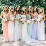 Simple Classic Sweetheart Pleating A-Line Long Bridesmaid Dress, Charming Bridesmaid Dresses, VB0410 - Visionbridal