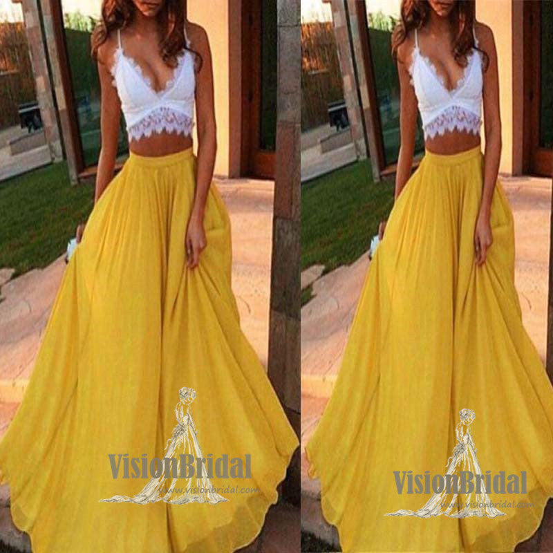 Charming Spaghetti Straps V-Neck Lace Top Two Pieces A-Line Long Chiffon Prom Dress, Sexy Prom Dress, Party Dress, VB0568