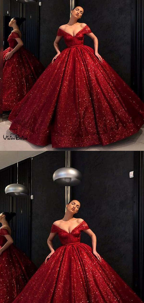 Gorgeous Shiny Red Cap Sleeve Ball Gown Sequin Tulle Prom Dresses, Prom Dresses, VB01696