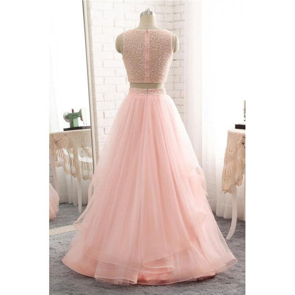 Pink Scoop Neckline Two Piece Long A-Line Tulle Prom Dresses, Simple Prom Dresses, VB01925