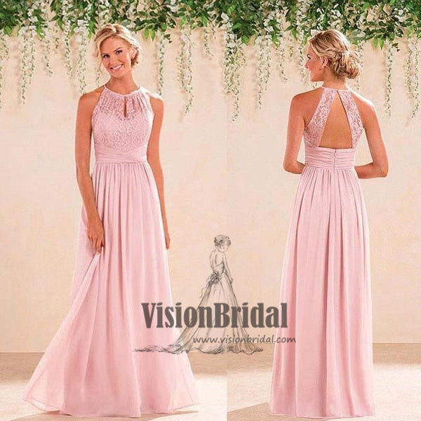 f73b1e2dbae Pink Halter Lace Top Open Back A-Line Long Chiffon Bridesmaid Dress ...