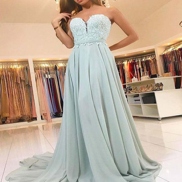 2018 Sweetheart Green Chiffon Lace Floor Length Custom Long Evening Prom Dresses, Prom Dresses, VB0278