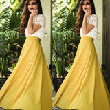 Alluring Scoop Neckline Lace Top Short Sleeve Long A-Line Yellow Prom Dresses, Prom Dresses, VB01931