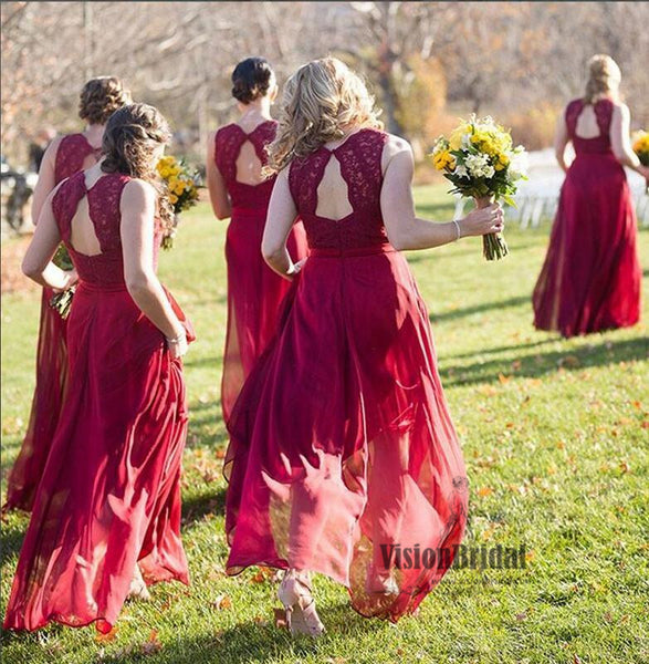 Beautiful Red V-Neck Lace Top A-Line Long Chiffon Bridesmaid Dress, Charming Bridesmaid Dresses, VB0475 - Visionbridal