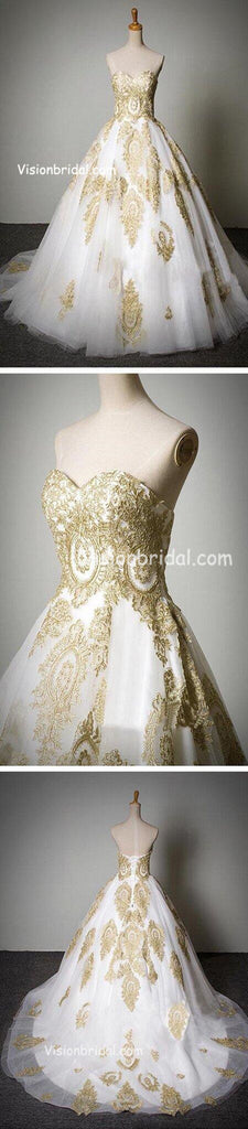 Popular Classic Sweetheart Gold Lace White Tulle Wedding Party Dresses, Cheap Wedding Dresses, VB01009