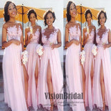 Beautiful Pink Round Neck Lace Appliques Side Slit Long Chiffon Bridesmaid Dress, Charming Wedding Party Dress, VB0491 - Visionbridal