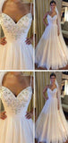 Simple Spaghetti Straps Beaded Long A-Line Tulle Wedding Dresses, Wedding Dresses, VB01780