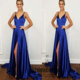 Simple Spaghetti Straps V-Neck Side Slit Long Prom Dress, Sexy Prom Dress, Prom Dresses, VB0428 - Visionbridal