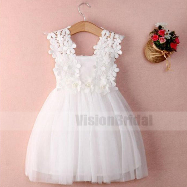 Simple White Top Lace Sleeveless Zipper Up With Band Flower Girl