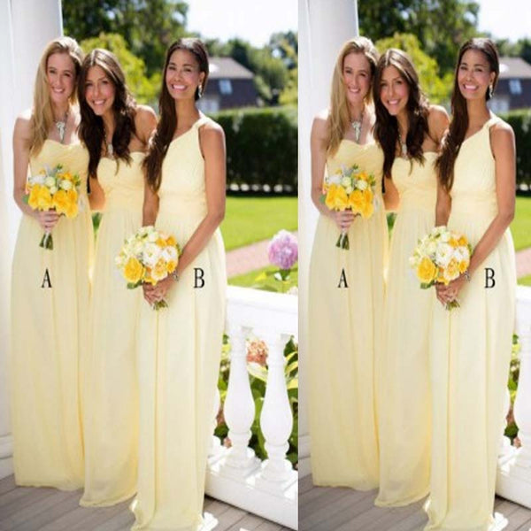 Mismatched Junior A-Line Floor-Length Chiffon Bridesmaid Dress, Bridesmaid Dresses, VB0327 - Visionbridal