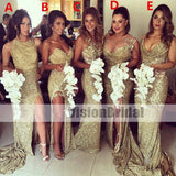 Mismatched Gold Sparkly Women Long Wedding Party Dresses for Bridesmaids, Sequin Bridesmaid Dresses With Side Slit, Bridesmaid Dresses, VB0862