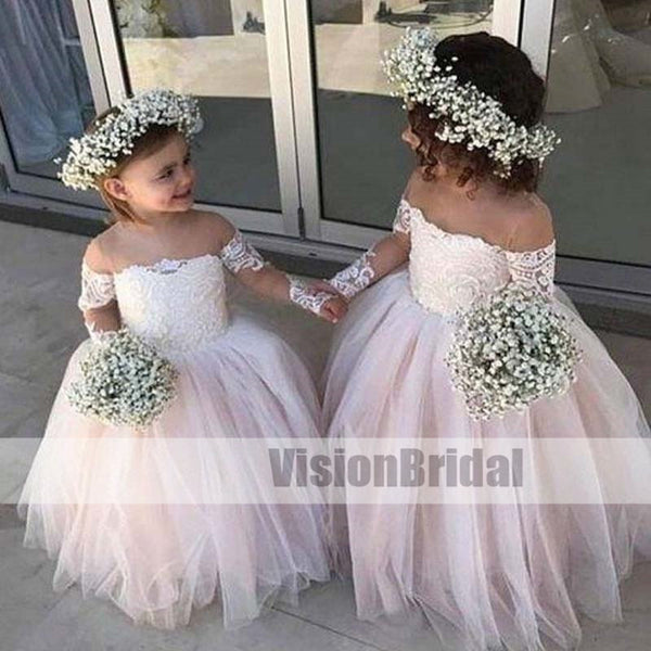 ab70b0a36c24 Lovely Pink Off Shoulder Top Lace Ball Gown Flower Girl Dresses, A-Line  Tulle