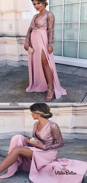 luxury Top Beaded Long Sleeve Long A-Line Side Slit Prom Dresses, Prom Dresses, VB01463