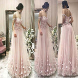 Princess Off The Shoulder Flower Appliques A-line Long Prom Dress, Beautiful Prom Dress, VB0462 - Visionbridal