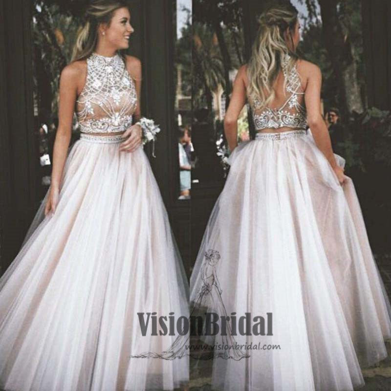 Halter Rhinestones Open Back Two Pieces A-Line Long Prom Dress, Prom Dresses, VB0419 - Visionbridal