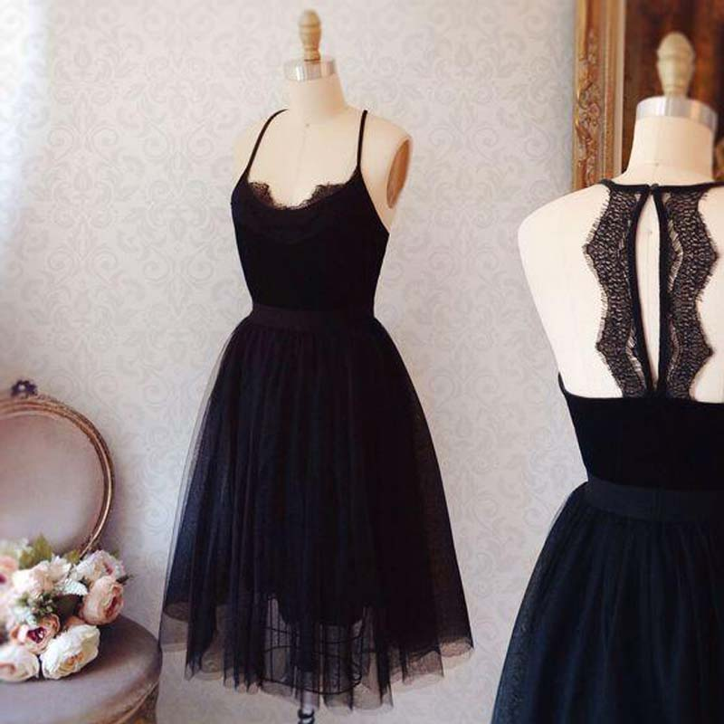 Elegant Black Spaghetti Straps Key Hole Back A-Line Tulle Homecoming Dresses, Simple Cheap Homecoming Dresses, VB01128