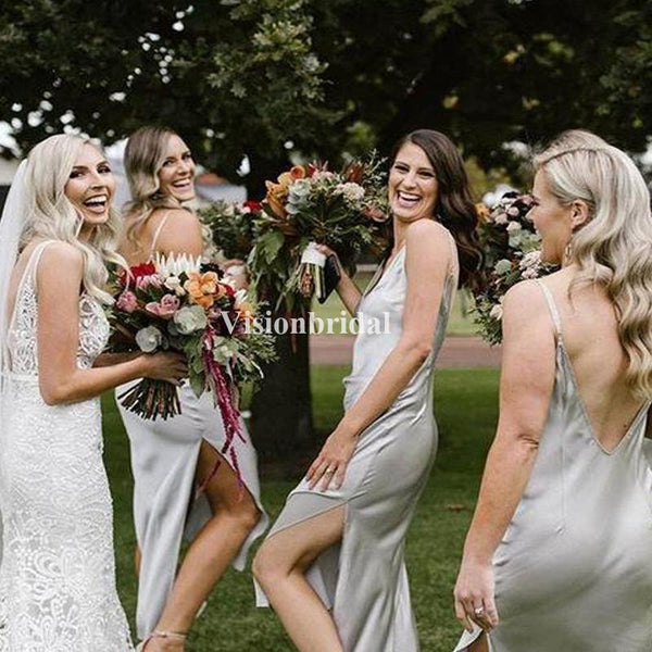 Eye-catching V-Neck Casual Side Slit Bridesmaid Dresses, Simple Bridesmaid Dresses, VB02716
