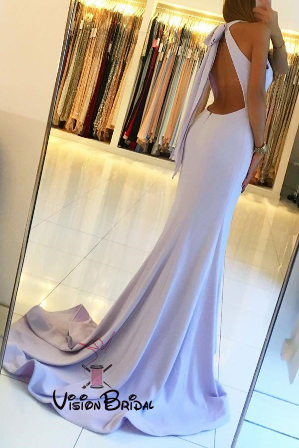 Lilac Halter Open Back Long Mermaid Side Slit Prom Dresses, Sexy Prom Dresses, VB01380