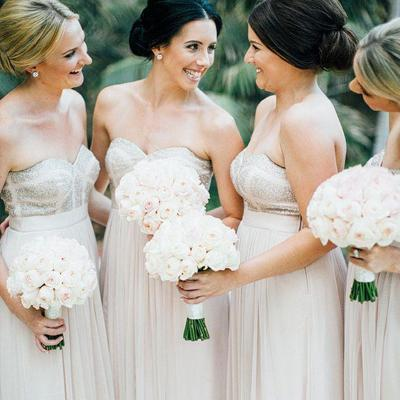 Charming Sweetheart Top Sequin A-Line Floor Length Chiffon Bridesmaid Dresses, Cheap Wedding Party Dresses, VB01092