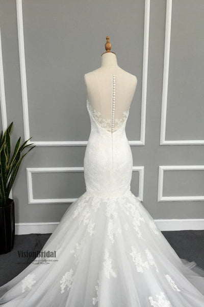 Elegant Illusion Lace Tulle Mermaid Wedding Dresses, Gorgeous Bridal Gown, Wedding Dress, VB0656