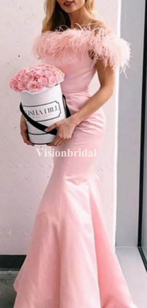 Sweet Pink Off Shoulder Mermaid Prom Dresses, VB03672