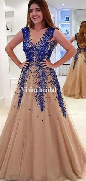 Charming Beading Straps A-Line Prom Dresses, Newest Prom Dresses, VB03448