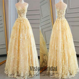 Illusion Yellow Lace Appliques Zipper Up A-Line Floor-Length Princess Prom Dress, Prom Dresses, VB0386 - Visionbridal