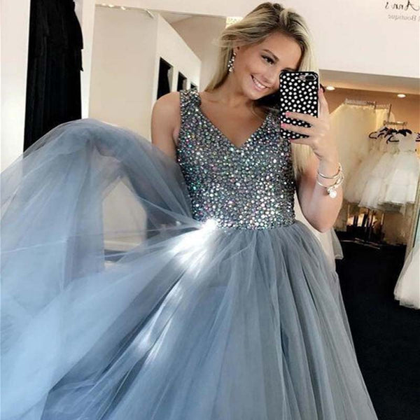 b823c875c7bc Shinny V-Neck Top Beaded Long A-Line Tulle Prom Dresses